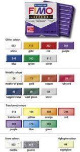24 couleurs de base pour la pâte Fimo EFFECT (glitter = effet brillant, metallic = effet métal, translucent = effet translucide, stone = effet pierre)