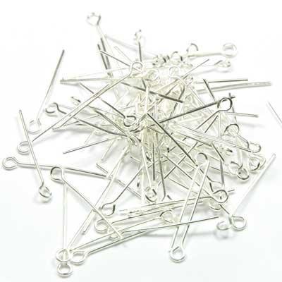 250 tiges à oeil argentées de 25 mm pour bijoux Fimo
