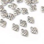Lot 50 breloques coeur argentées 9 mm pour bijoux Fimo