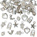 Lot 90 breloques argentées pour bijoux Fimo