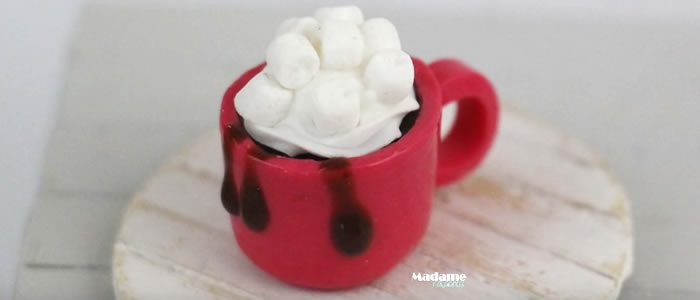 Tuto Fimo chocolat chaud petits chamallow – Faire un chocolat chaud petits chamallow en pâte Fimo