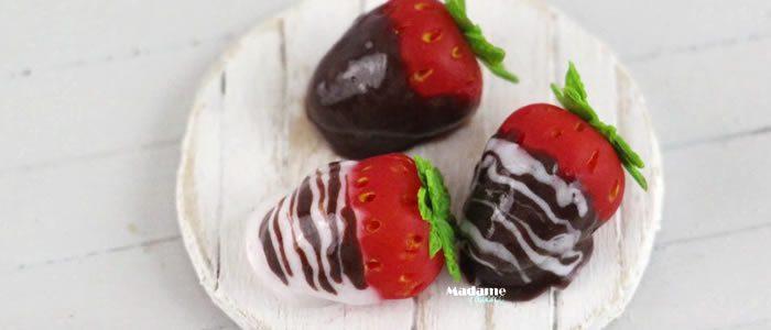 Tuto Fimo fraises chocolat (St Valentin) – Faire des fraises au choco en pâte Fimo